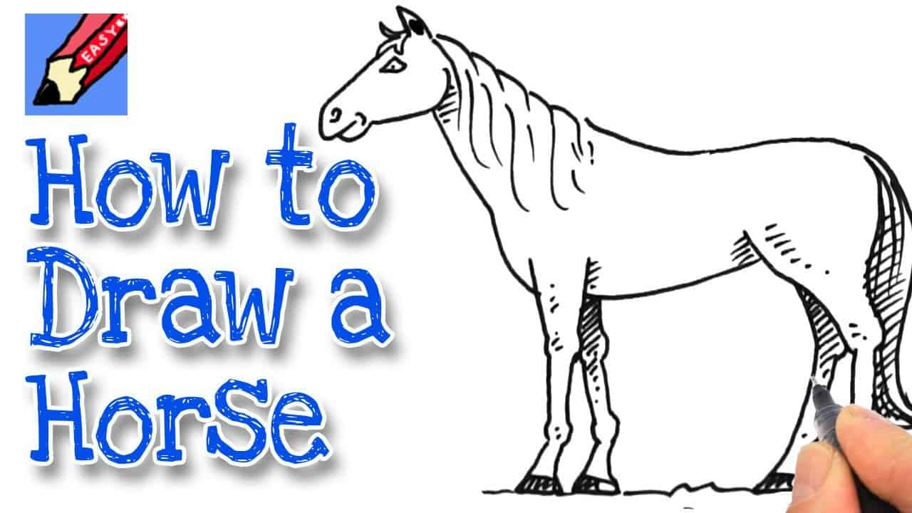 How To Draw A Horse Real Easy Kidlit Tv