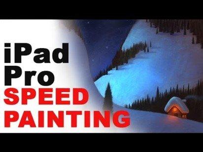 Snowy Cabin Speed Painting on iPad Pro in Procreate App